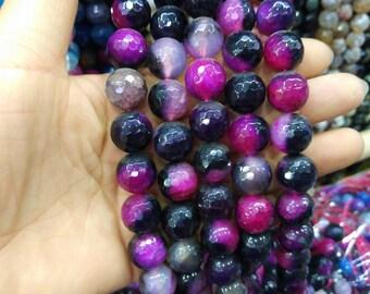 2 str -Black Fuchsia Agate 14mm Round ball beads -28pcs/strand