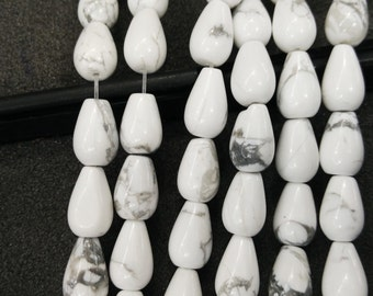 White Howlite Stone Teardrop beads 8x12mm- Central Drilled- 33pcs/strand