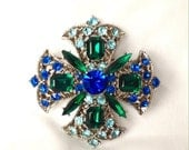 50% Midcentury Rhinestone Maltese Cross    Brooch Cobalt Emerald Blue Pin