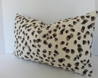 Both Sides - Lulu leopard Pillow Cover in Grey Black and White Basket Weave