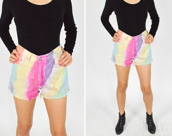 80's 90's GRUNGE Multi Colored Pastel Tie Dye Distressed Denim Shorts. High Waisted. Soft Cotton. 90's Grunge Cut Offs