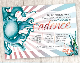 Octopus Under the Sea Birthday Party Invitation, Chic Beach Party Invite, Nautical Ocean Party - DiY Printable || Cadence of the Sea 2.0