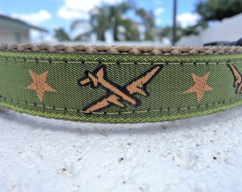 "Military Dog Collar Airplanes Green  3/4"" or 1"" wide Quick Release buckle - upgrade martingale collar,incl dogs neck measurement"