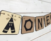 ONE Birthday Banner, Baby Boy Birthday, first birthday, brown and cream, tribal banner, First Birthday Party, tent, camping, neutral