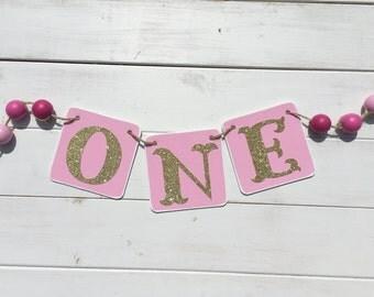 ONE Birthday Banner, Baby Girl Birthday, first birthday, pink and gold, bead banner, Birthday Girl, First Birthday Party, glitter gold one