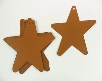"7 Metal Stars Rusty Look Tin Cut Outs 4"""
