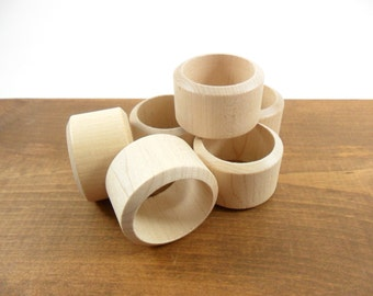 "6 Napkin Rings 1 3/4"" Dia. Unfinished Wood"
