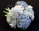 Miniature Flowers - Shabby Chic Sweet Blue Bouquet, 1/12 scale ~ 1/6 scale Dollhouse Decoration DIY Craft Wedding (see Item Details)