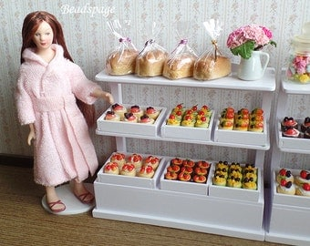 Dollhouse Miniature Bakery Pastry Bundle Set / Display Cabinet, Patisserie Cake Food for 1/12 Scale (see Item Details for description)