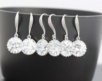 7 bridesmaid earring clear earring round earring zirconia earring
