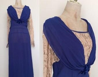 SALE 1910's Royal Blue Downton Abby Antique Floor Length Dress Sz Small/ Medium Silk Flapper Dress by Maeberry Vintage
