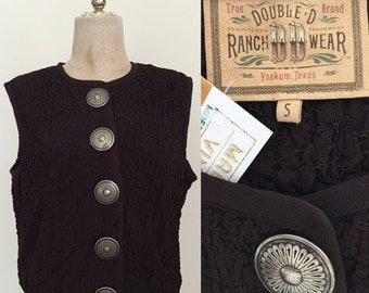 SALE 1980's Concho Button Vintage Boxy Crop Top Brown Vintage Western Button Up Sz Small Large by Maeberry Vintage