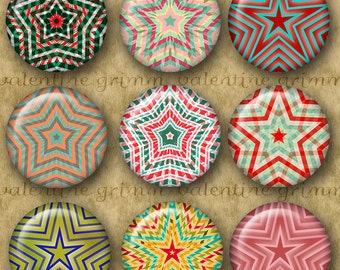 1 inch Digital Printable Circles HOLIDAY STARS Collage Sheet for Jewelry Magnets Crafts...Retro Colors Original Designs Christmas Mandalas