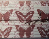 Vintage Butterflies Blank Notecards,  Butterfly Notecard Set, Kraft Butterfly Notecards