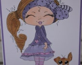Blank Notecard, Sherri Baldy Design, Little Girl with Dog Notecard, Birthday Card, Friendship Card