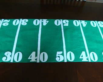 Football table runner, green table runner, sports theme table runner, football party accessory, football season party accessory, football