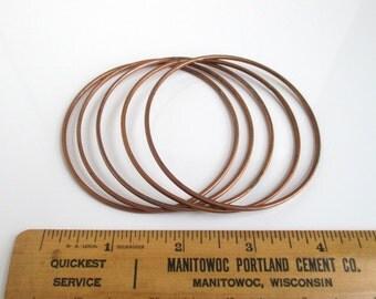 5 Copper Bangle Bracelets - Vintage, Smooth, Plated
