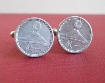 Japan Coin Cuff Links - Japanese 1940's Repurposed Aluminum Coins