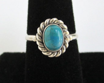 925 Sterling Silver & Blue / Green Stone Ring - Vintage, Size 7