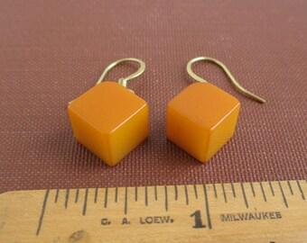 Yellow Bakelite Earrings - Pierced, Dangle, Butterscotch
