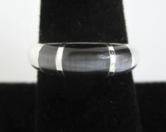 925 Sterling Silver Ring / Band w/ Iridescent Stone Inlay - Vintage Unused, Size 7 1/4
