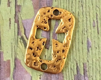Shiny Gold Hammered Pewter Cut Out Cross Connector Charm