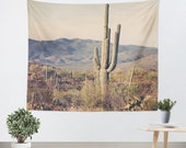 Cactus Tapestry - Desert Wall Hanging - Southwest Tapestry - Arizona Landscape - Tapestry - Landscape Photo - Wall Tapestry - Green and Tan