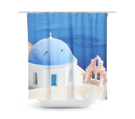 Greek shower curtain pink and blue decor sanorini greece for Pink and blue bathroom accessories