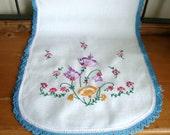Vintage Embroidered Flowers Table Runner Dresser Scarf w/ Blue Trim 13 x 36