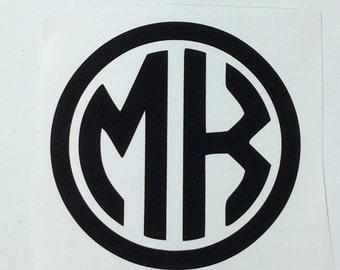 2 Letter Monogram Decal, Two Letter Monogram, Circle Monogram, Round Monogram, Monogram for Car, Monogram for Boys, Bold Monogram
