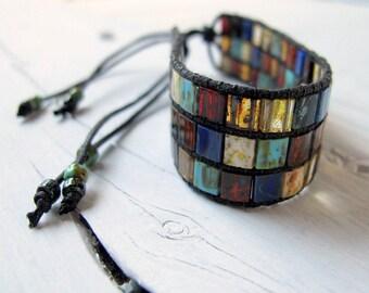 Thick Tila Cuff, Miyuki Glass Bracelet, Bohemian Wristband, Picasso Glass Jewelry, Boho Hippie Bijoux, Rustic Color Mix, Friendship Bracelet