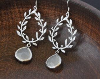 Wedding Jewelry- Silver Laurel Earrings/ Wreath Earrings/ Silver Earrings/ Branch Earrings/ Statement Earrings/ Dangle Earrings/ Feminine