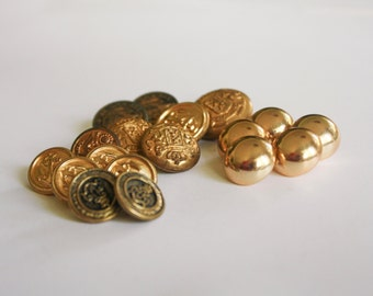 Gold Metal Buttons, 18 total