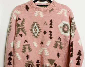 Vintage 80s/90s Super Cute Snow Bunny Pastel Kawaii Goth Pink Wool Sweater with Aztec Design