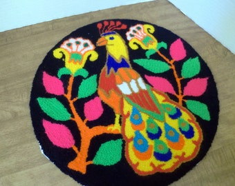 Russian Needle Punch Peacock Round Chair Pad / Rug / Cover