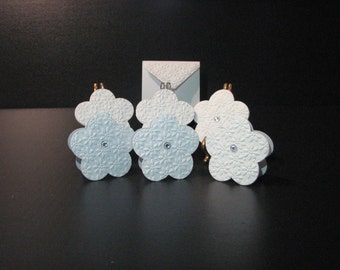 Note Cards Set of 6 White Flower With Jewel