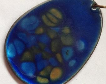 Vintage Large Resin Enamel Pendant Blue and Yellow
