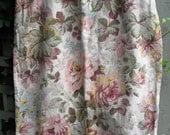 Linen-Cotton Rose Print Skirt/ Size 12 Petite Summer Skirt/ Retro Floral Sklrt/ Shabbyfab Funwear