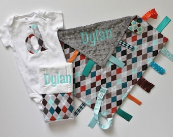 PERSONALIZED Baby Boy Gray Argyle Set - Ribbon Tag Sensory Blanket with Pacifier Clip, Burp Cloth and Bodysuit