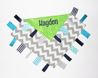 PERSONALIZED Ribbon Tag Blanket, Ribbon Blanket, Navy and Gray, Pacifier Clip, Gray Chevron, Large 16 x 16 Turquoise Navy, Gray, Lime Minky
