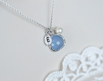 Initial Necklace, Pastel Blue , Serenity Blue Glass Drop, Initial Hand Stamped Leaf and Freshwater Pearl Necklace, Serenity Blue Color of th