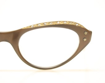 NOS Rhinestone Cat Eye Glasses Cateye Eyeglasses NOS Vintage Brown