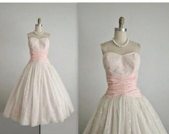STOREWIDE SALE 50's Wedding Dress // Vintage 1950's Strapless White Chiffon Full Wedding Dress Tea Gown XS