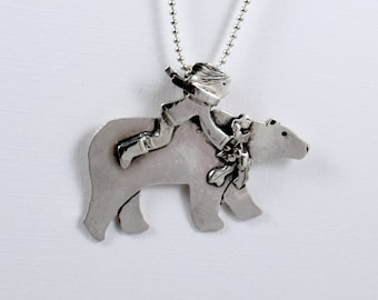 Bastian And His Holiday Bear - Up Cycled Sterling Silver - Holiday Jewelry Pendant - Christmas Holiday Jewelry - Art Jewelry Pendant - 2115