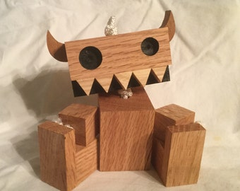 Eco Friendly Reclaimed Scrap Wood Robot Toys