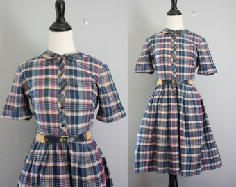 50s dress / 1950s dress xs / plaid dress / cotton dress / 50s dress extra small