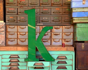 Vintage Marquee Sign Letter 'K': Large Green Wall Hanging Initial -- Industrial Neon Channel Advertising Salvage