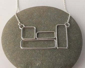 Silver Boxes Necklace, Silver Squares Necklace, Geometric Necklace, Statement Necklace, Rectangle Cluster Necklace