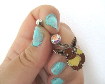 Pokémon  Bellybutton Piercing  - EEVEE - Belly iridescent botton jewelry