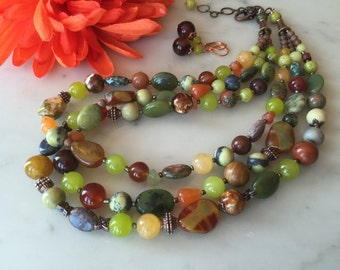 Chunky 3-strand olive green necklace, earrings set, olive jade, jasper, multi strand, gift idea, yellow, agate, vintage style, handmade
